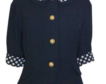 1940's-Style Navy Blouse