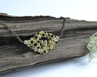 nature jewelry, forest jewelry, lichen necklace
