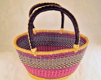 Shopping Basket Woven Natural ,African Market, Storage. natural fiber,Picnic basket, woven multicolor home decor, Coiled Rim