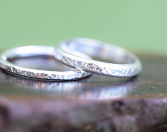 Hammered silver wedding rings, his and hers, pair of stacking rings, bridal set of two 2, 2mm 3mm bands, handmade, simple affordable plain