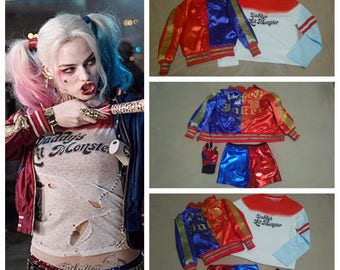 Harley Quinn Costume full set harley quinn cosplay harley quinn jacket t-shirt shirt glove shorts for kids daddys lil monster suicide squad