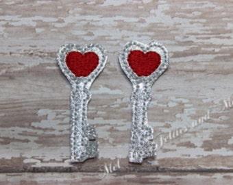Key Heart Feltie / Set of Two Silver Glitter Vinyl Heart Key Embroidered Felties / Cut Feltie