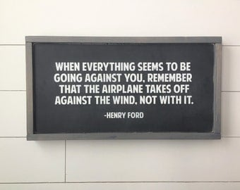"""Henry Ford Airplane Quote   Wall Decor, Framed Wood Sign, 12""""x22"""""""