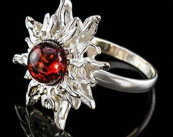 Amber, 925 sterling silver, set  , earrings, ring ,pendant