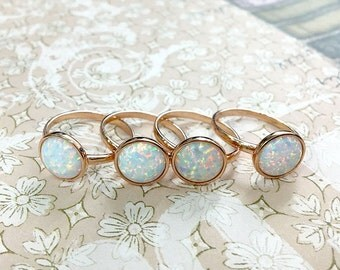 Rose Gold Opal ring,White opal ring,Silver ring,Stone ring,October Birthstone ring,Birthstone ring,Simple ring,birthday ring