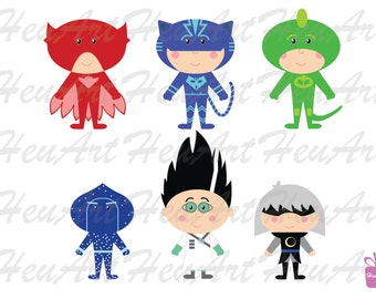 NEW PJ Masks Clipart, PJ Masks Party Theme, Party, Printables, Stickers, Cute Clipart, Party, Embroidery,Bunting,Digital Clipart,Artwork