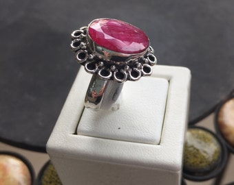 Silver and ruby ring