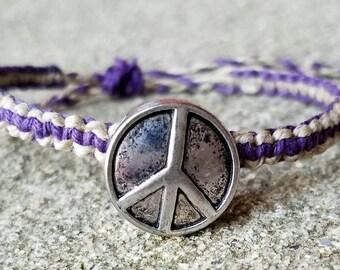 hemp bracelet, peace sign bracelet, hemp jewelry, beach bracelet, hippie bracelet, boho bracelet,  boho jewelry, beach jewelry, gift for her