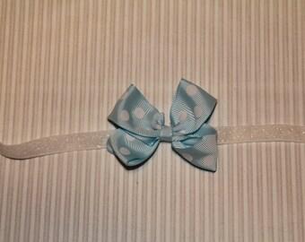 Light blue and white polka dot bow headband, newborn headband, infant headband, baby headband, toddler headband, girl headband