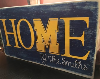 Michigan home sign,michigan football, michigan home decor