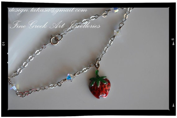 strawberry bracelet sterling silver fine jewellery in chain lakasa shop best idea gift for her woman mother girl baptism children baby mommy