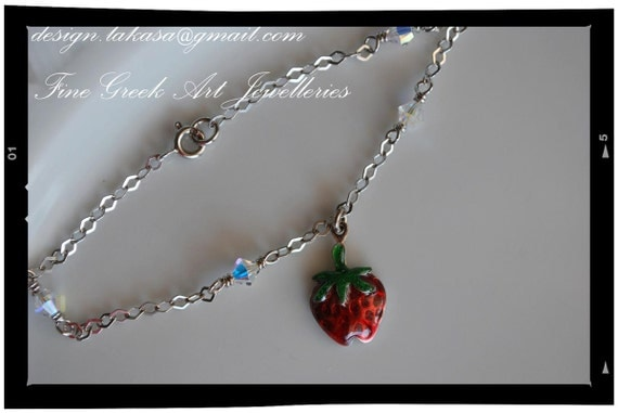 Strawberry bracelet sterling silver fine jewellery in chain lakasashop best ideas gift for her woman mother girl baptism children baby mommy
