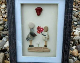 Flowers, pebble art picture