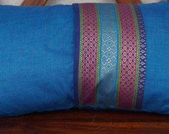 Rainbow sky 5 series: South India cover 30x50cm (12 x 20 inches) cushion, cotton lined with embroidered braid. Blue color.