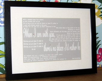 Song Lyrics/ First Dance/Favorite Song/Wedding Gift/ Birthday/ Anniversary Framed Print