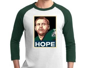 """New! Carson Wentz Philadelphia Eagles """"HOPE"""" 100% Cotton Raglan Tee! OBAMA STYLE"""