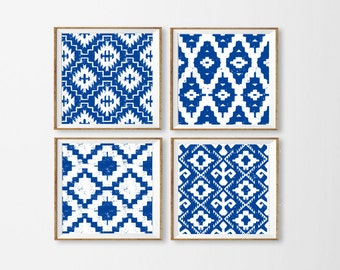 Ikat Art Printables, Set of 4 Ikat Wall Art, Nautical Wall Art, Royal Blue Ikat Art, Aztec Blue Wall Art, Tribal Art Blue Square Large