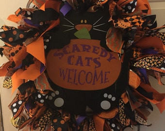 Halloween kitty wreath