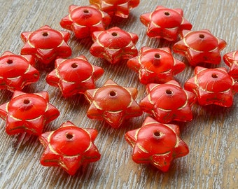 Star Beads, Picasso Beads, Glass Stars, Rustic Beads, Czech Picasso Beads, Czech Beads, Czech Glass Beads, Orange Beads, 12mm x 6mm, Pk 10