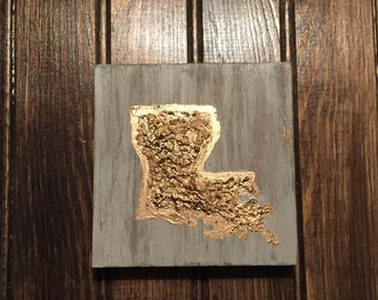 Gold Leaf State Silhouette Mini