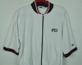 Vintage 90s White Fila Italia Big Logo At The Back  / M Size / Fila