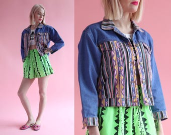 Vtg 90s Abstract Print Multicolored Denim Jacket sz S