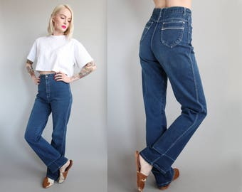 "Vtg 70s/80s High Waisted Wide Leg Jeans 27"" Waist sz M"