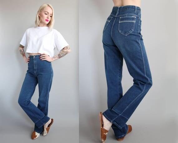 Vtg 70s/80s High Waisted Flare Leg Jeans 27 Waist sz M