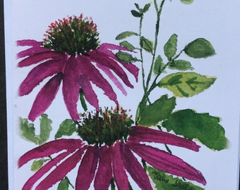 purple cone flower watercolor note card, print