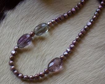 Amethyst, Fresh Water Pearl Necklace with Maching Earrings.