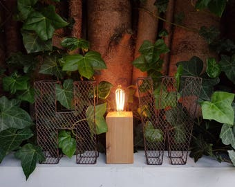 Oak block table lamp / light. Edison filament bulb. hand made. industrial. rustic. country. solid oak. Wooden. Wood.