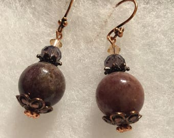 Plum Quartz earrings,copper and Quartz earrings,