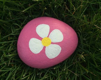 Flower Painted Rock Paperweight