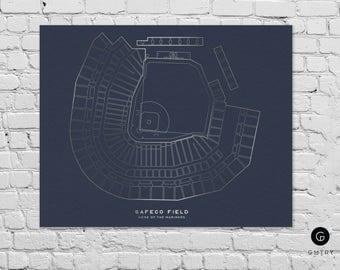 "Safeco Field Print - 8"" x 10"" - Fan Art - Seattle Mariners | Foil Sports Print | Seattle Art | Mariners | Gift for Him | Seattle Print"