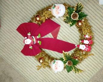 gold merry christmas  wreath