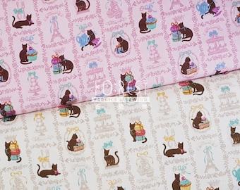 Cosmo Oxford kawaii cat fabric
