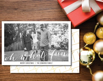 Oh What Fun Printable Christmas Card. Two-sided. Gold and White. Holiday Card.