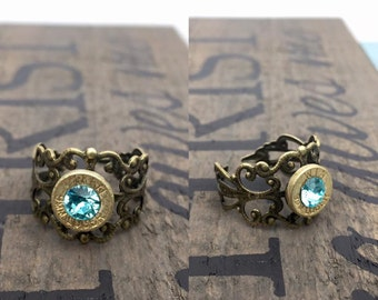 Antique Brass Bullet Ring