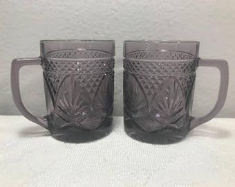 Vintage Amethyst Cristal D' Arques Purple Glass Coffee Mugs Cups