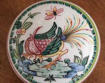 Vintage Hand Painted Trinket Box, Porcelain, Made in Portugal