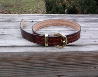 Hand Tooled Leather Belt Design 7