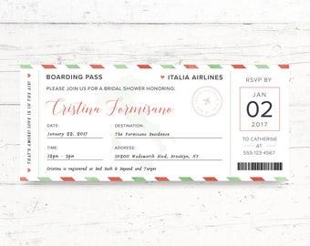 Italy Airplane Ticket Bridal Shower Printable Invitation, Travel, Thats Amore, Italian Custom Printable Invite