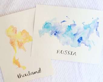 Custom Country/ State Watercolor