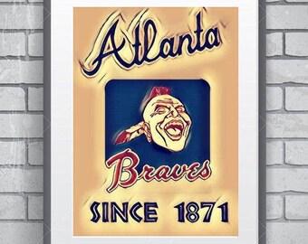 Atlanta Braves poster 11 by 14 , vintage retro look