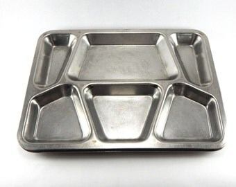 Set of 2 Vintage Stainless Steel U.S. Military Mess Hall Divided Trays - Vollrath Stainless Steel - Cafeteria Food Trays