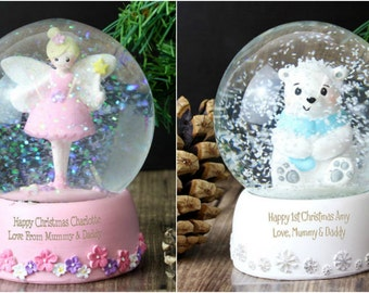 Personalised My First 1st Birthday Fairy Snow Globe or Polar Bear Snow Globe Gift for Baby Babies Child