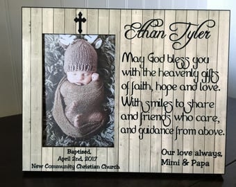 Personalized baptism Godson or Goddaughter picture frame // Christening gifts  //religious gift for godson or Goddaughter / 4x6 photo