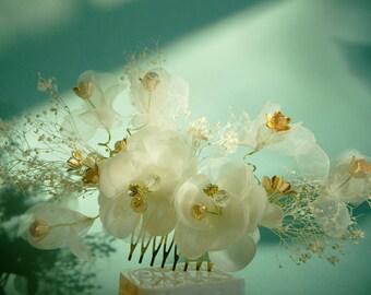 silk flower hair comb rhinestone hair clips crystal bride headpiece wedding accessories bridal headpieces