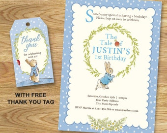 Peter Rabbit Birthday Party Invitation // Digital File Only
