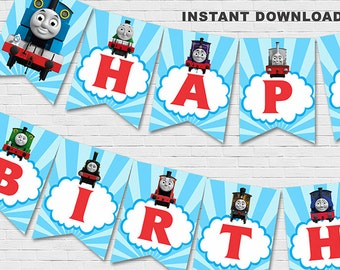 Thomas The Train Banner // Thomas The Train Birthday Banner // Instant Download - Available Immediately!